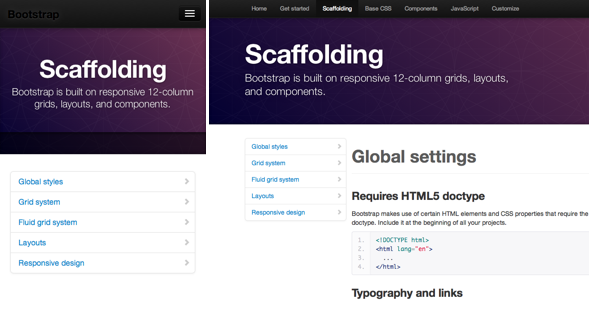 The mobile site (L) still retains most of the core functions as the main site (R). Note the collapsed top navigation on the mobile site.