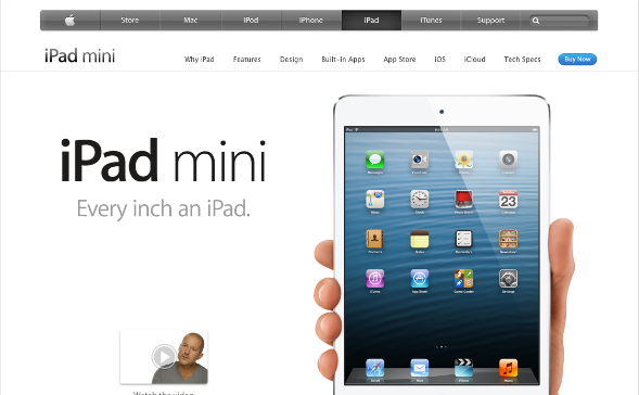 Apple's site makes use of ample white space, and tucks away product information into a separate tab. The front of the product's page displays user-centric benefits and not specifications nor features.
