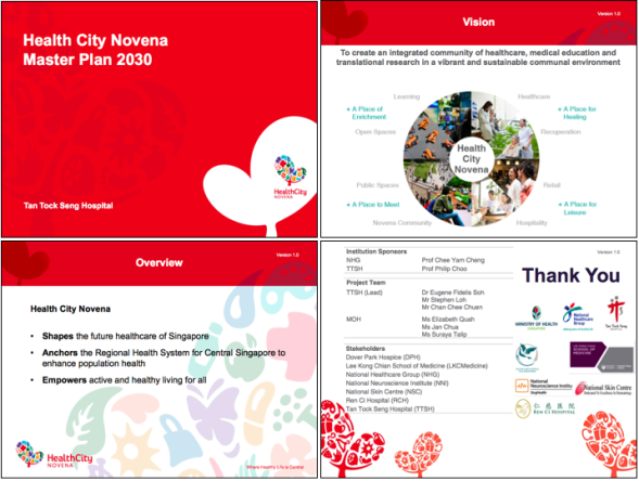 Powerpoint slide templates using the HealthCity Novena symbol.