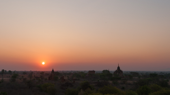 The sun rises over the ancient kingdom of Pagan in Bagan