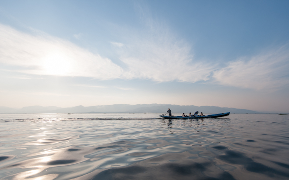 Traveling across the Inle Lake